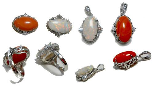 オパールダイヤ、赤珊瑚ダイヤ指輪の作り替えリフォームです。