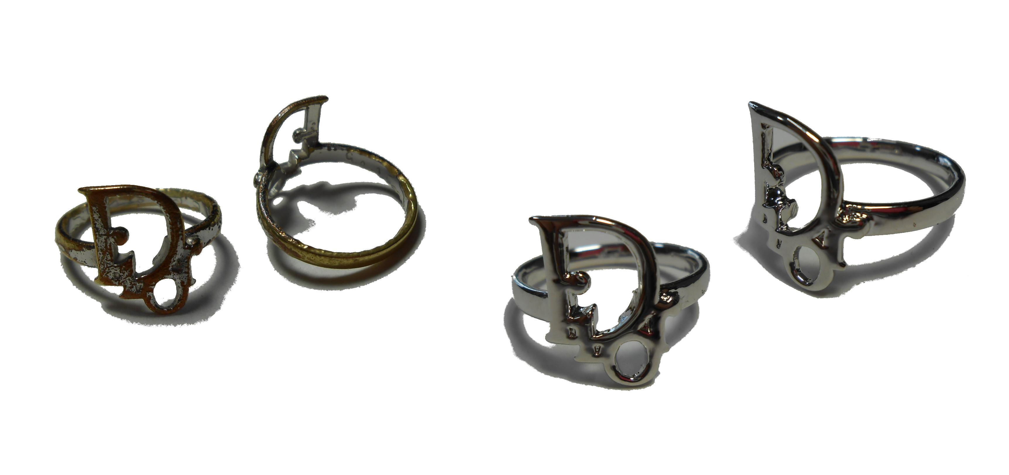 メッキの指輪のメッキ剥がれ腐食の修理を行います。