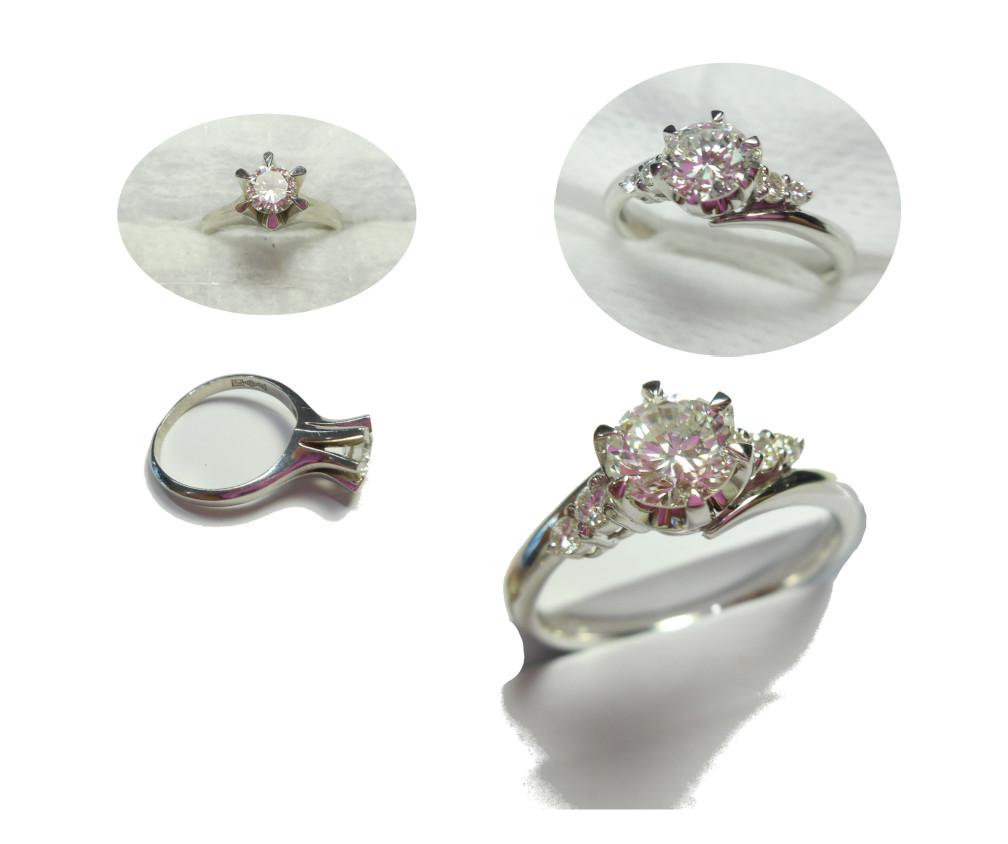 プラチナダイヤモンド立爪指輪リメーク依頼です。