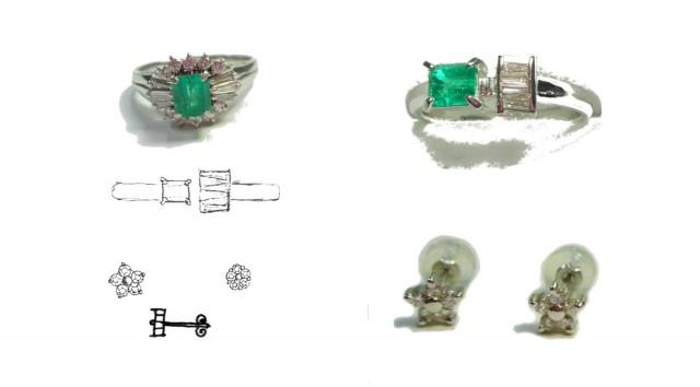 指輪を作り変えて新しい指輪とピアスを作りました。